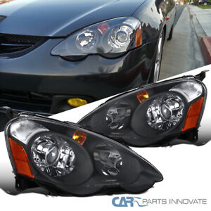 02 04 Acura Rsx Dc5 Retro Style Replacement Black Projector Headlights Lamps