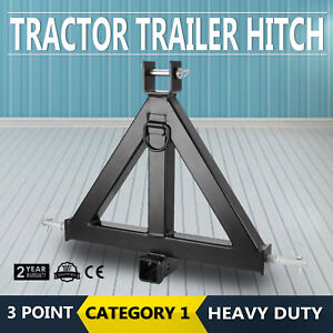 3 Point 2 Receiver Trailer Hitch Category 1 Tractor Tow Drawbar Pull Attachment