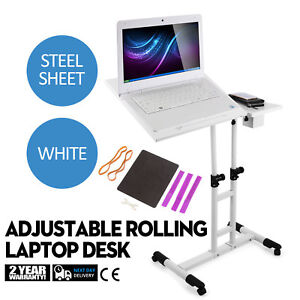 Adjustable Height Rolling Laptop Desk Table Tattooing Cart Over Sofa Lockable