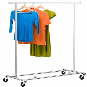 Commercial Clothing Rack Garment Hanging Rod Single Rail Rolling Steel Durable E