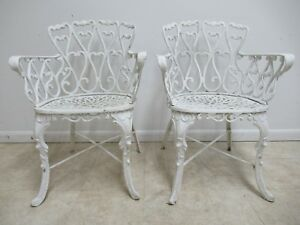 2 Vintage French Pierce Carved Outdoor Patio Porch Arm Dining Chairs Aluminium A