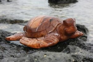 Carved Hawaiian Turtle Honu 16 Stained Hand Carved