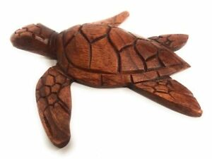 Carved Hawaiian Sea Turtle Honu 8 Stained Hand Carved Raw0420