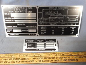 Special M416 Set Operational Data Plate Military Trailer M151 M38 M37 M715 M998