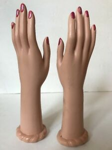 Set Of Vintage Rubber 12 Mannequin Hands Female Right Left Set Lot Display Arm