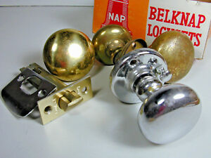Vintage Door Knobs And Lock Set Parts Chrome And Brass