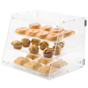 3 Tray Acrylic Bakery Donut Clear Display Case Front Rear Doors 21 X 17 3 4 X 16