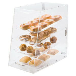 4 Tray Acrylic Bakery Donut Pastry Display Case Front Rear Doors 24 X 14 X 24