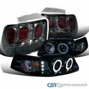 99 04 Ford Mustang Glossy Black Halo Projector Headlights smoke Lens Tail Lamps