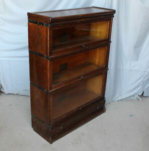 Antique Oak Bookcase Globe Wernicke 3 Sectional With Drawer In Base Sectional