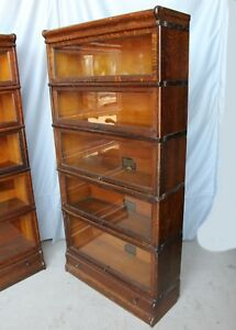 Antique Oak Sectional Bookcase Globe Wernicke 5 Sections With Drawer In Base