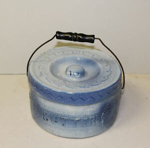 Antique Gray Blue Stoneware Butter Crock With Lid Original