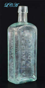 Large Thick Quack New Discovery Antique Medicine Bottle Turquoise Patina Color