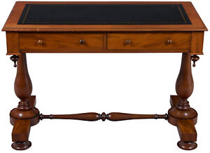 Antique Victorian Period Mahogany Leather Top Writing Desk W Drawers Unique Fs