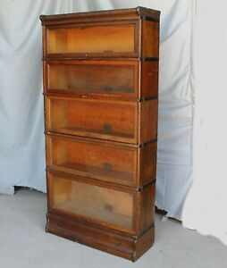 Antique Oak Bookcase Globe Wernicke 5 Sections With Drawer In Base 1 Of 2
