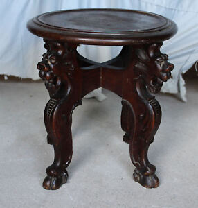 Antique Quarter Sawn Oak Small Table Stand Carved Lions