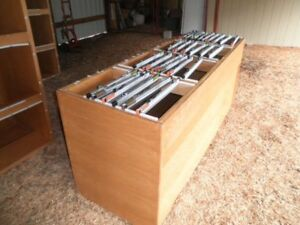Large Custom Made Wooden Wood Blueprint Art Map Filing Cabinet Holds 18 Clamps