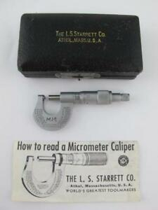 Starrett No 576 Outside 0 1 2 Micrometer Machinist Tool Rounded Anvil