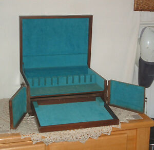Vtg Wood Flatware Storage Box Chest W Pull Out Drawer Removable Tray Handles