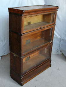 Antique Oak Sectional Bookcase Globe Wernicke 3 Sections