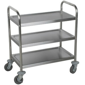 3 Set Utility Carts Stainless Steel Kitchen Rolling 3 Tier Shelves Bussing Racks