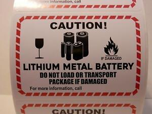 20 Cut labels Lithium Metal Battery 4 25x3 Warning Sticker
