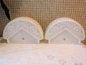 Antique Art Deco Fan Shaped Slip Shade Wall Sconce Lamp Shade Pair White Glass