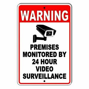 Warning Premises Monitored By 24 Hour Video Surveillance Metal Sign Cctv S030