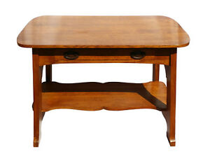 Antique Arts Crafts Mission Oak Library Table Desk Craftsman Bungalow Furniture