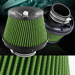 3 Carbon Style Top Green Mesh Turbo Short Ram Cold Air Intake Air Filter