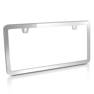 Chrome Metal Slim Style License Plate Frame With 2 Holes