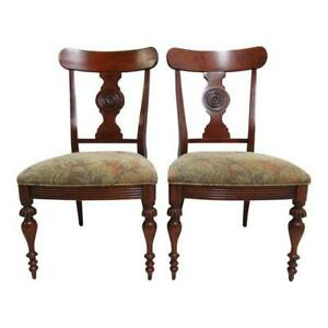 Pair Ethan Allen British Classics Carved Dining Room Side Chairs Dorsey A