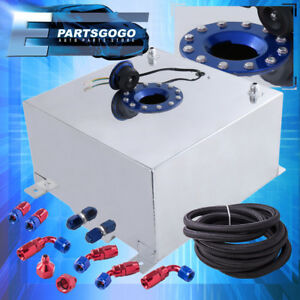 Aluminum 10 Gallon Fuel Tank W Blue Cap Braided Nylon Oil Feed Line Swivel