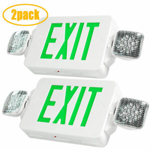 2 X Led Exit Sign Emergency Lighting Green Compact Double Head Combo Ul 924
