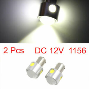 2pcs 1156 White Cob Led Projector Lens Car Tail Brake Backup Reverse Light