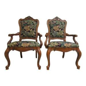 Pair Ethan Allen Tuscany French Carved Dining Room Arm Chairs