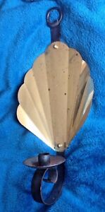 Vtg Shell Brass Gold Tone Iron Wall Sconce Mid Century Candle Holder Candelabra