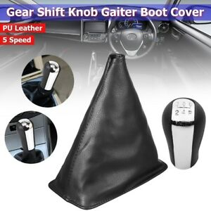 5 Speed Pu Leather Gear Shift Knob Gaiter Boot Cover For Toyota Corolla 98 09