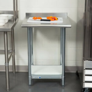 New Commercial 24 X 24 Stainless Steel Work Prep Table With Backsplash Kitchen