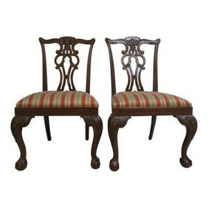 Ethan Allen 18th Century Mahogany Chippendale Dining Room Side Chairs B