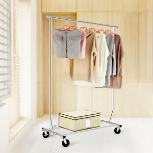 Single Rail Rolling Garment Rack Collapsible Clothing Rack Drying Hanging Rack