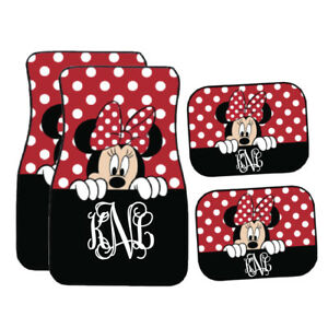Personalized Disney Car Mat Black Red Peeking Minnie Mouse Car Mat