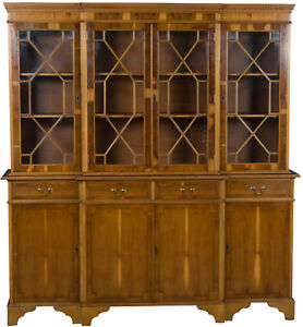 Antique Style English Breakfront Bookcase China Cabinet Yew Wood Four Door Wide