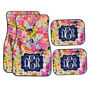Personalized Navy Floral Garden Car Mats