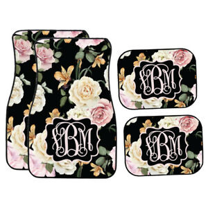 Personalized Black Floral Pink And Cream Roses Car Mats