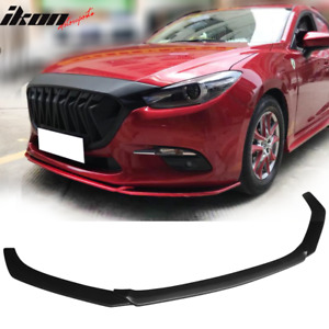 Fits 14 17 Mazda 3 V1 Style Front Bumper Lip Chin Spoiler Unpainted Pp