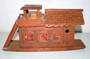 Antique Old Wooden Rare Hand Crafted Rare Sailing Ship Model Boat House