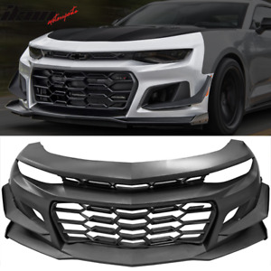 Fits 16 18 Chevy Camaro 1le Style Front Bumper Cover Unpainted Black Pp