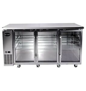73 Stainless 3 Glass Doors Commercial Back Bar Beer Bottle Refrigerator Cooler