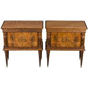 Antique Style Pair Of Marble Top Carved Walnut Nightstands Bedside Tables Chests